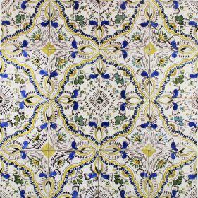 Antique Dutch Delft polychrome ornamental wall tiles known as English Chintz, 19th century