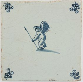 Antique Dutch Delft tile with Cupid leaning on a stick, 17th century