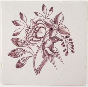 Antique Delft tile in manganese with a bird on a flower, 18th century