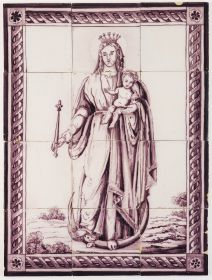 Antique Delft tile mural in manganese depicting Madonna and child, 19th century