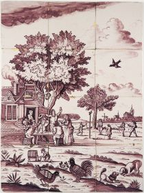 Antique Delft tile mural with a tavern scene, playing children and several animals, 18th century
