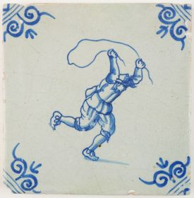 Antique Delft tile in blue depicting a child playing with a jumping rope, 17th century