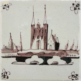 Antique Dutch Delft tile in manganese depicting a city gate