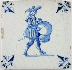 Antique Dutch Delft tile with a drummer (military) in blue, 17th century
