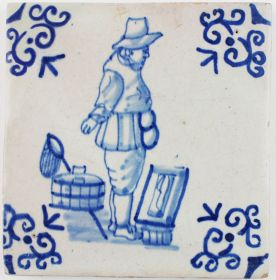 Antique Dutch Delft tile in blue with a fisherman, 17th century