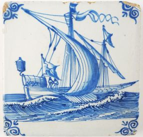 Antique Delft tile in blue with a galley ship under sail, 17th century