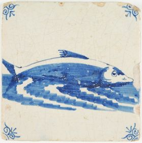 Antique Dutch Delft tile in blue with a fish (houting), 17th century