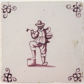 Antique Delft tile with a musician playing on a lute, 18th century