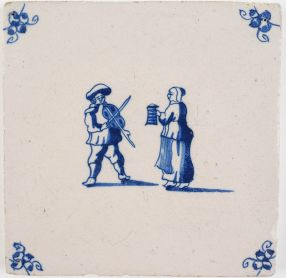 Antique Delft tile depicting a man and a woman celebrating Shrove Tuesday by making music, 18th century