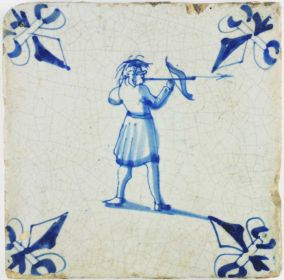 Antique Dutch Delft tile with an archer shooting a crossbow