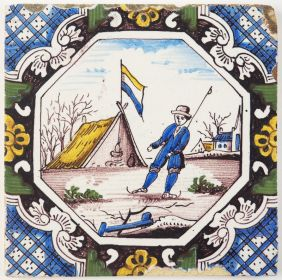 Antique Delft tile with a man skating on ice in a typical Dutch winter landscape, 19th century