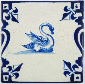 Antique Delft tile with a beautiful swan in blue, first half 17th century