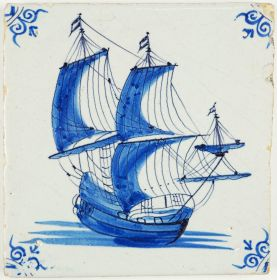 Antique Delft tile in blue with a large tall ship under full sail, 17th century