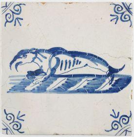 Antique Dutch Delft tile with a walrus, 17th century