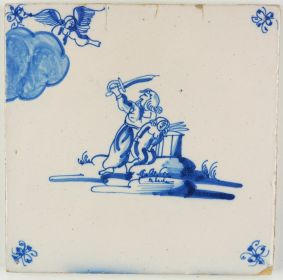 Antique Delft tile in blue depicting Abraham offering his son Isaac, 18th century
