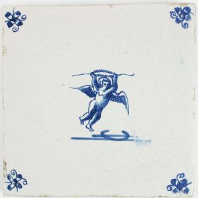 Antique Delft tile with Cupid in flight while holding a laurel wreath, 17th century