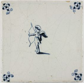 Antique Delft tile with Cupid about to shoot his bow, 17th century