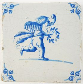 Antique Delft tile with Cupid blowing the horn and holding a laurel wreath, 17th century