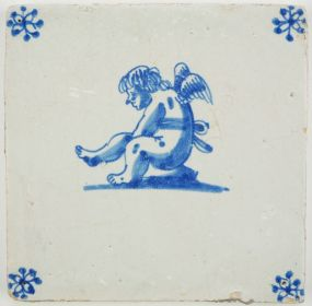 Antique Delft tile in blue with Cupid resting and stretching, 17th century