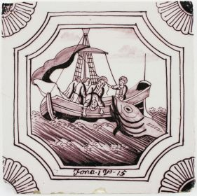 Antique Dutch Delft tile depicting Jonah being thrown overboard, 19th century
