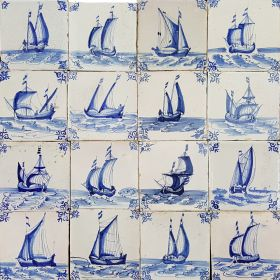 Antique Dutch wall tiles in blue with ships and boats from Harlingen, original 17th century