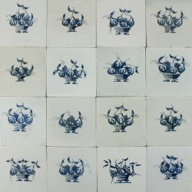 Antique Dutch Delft wall tiles with Fruit baskets in blue, original 17th century
