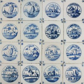 Antique Dutch Delft wall tiles in blue with landscapes in a circle, 18th and 19th century