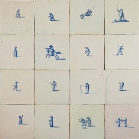 Antique Delft wall tiles in blue depicting small scenes with figures, 17th century