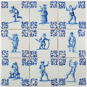 Set of 9 antique Delft wall tiles in blue depicting well-painted figures doing all kind of activities, 17th century