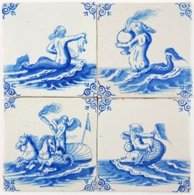 Set of four 17th century Delft tiles with mythical sea creatures