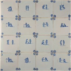 Antique Delft wall tiles in blue with child's play scenes, original 17th century