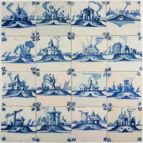 Antique Dutch Delft landscape wall tiles with typical Dutch scenes, 19th century