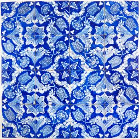 Antique Dutch Delft ornamental wall tiles with flower design
