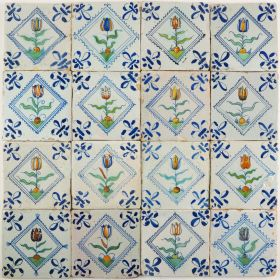 Antique Dutch Delft wall tiles with Tulips in diamond squares, 17th century