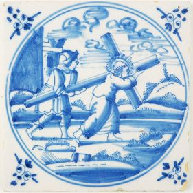 Antique Delft tile depicting Jesus carrying his cross, 18th century