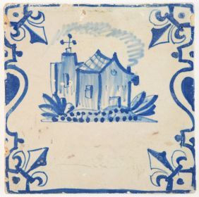Antique Delft tile in blue with a castle depicted between balusters and 'french lily' corner motifs, 17th century