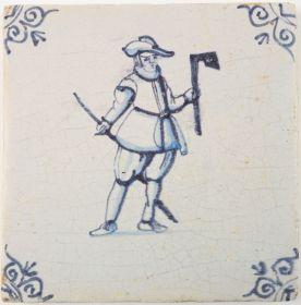 Antique Delft tile depicting a carpenter with an axe, 17th century