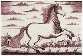 Antique Delft tile mural in manganese with a galloping horse, 19th century Royal Tichelaar