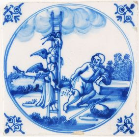 Antique Delft Biblical tile depicting Jacob's Ladder, 18th century