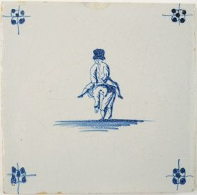 Antique Delft tile depicting two children playing a game of leapfrog, 18th century
