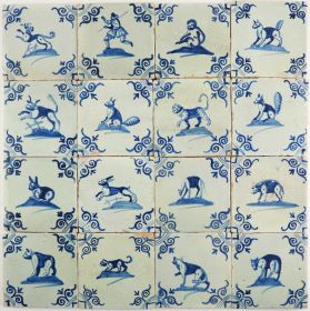 Antique Dutch Delft wall tiles with animals in blue, 17th century