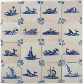 Antique Dutch wall tiles with ships and boats (nautical), original 17th century