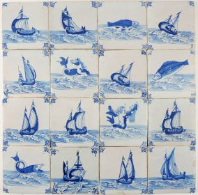 Antique Dutch Delft wall tiles with fish and other sea creatures, 17th century