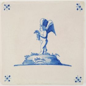 Antique Delft tile with Cupid reading the paper or singing a psalm, 17th century Harlingen