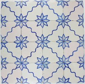 Antique Dutch Delft wall tiles with a ornamentel star motif, 19th century