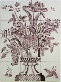 Antique Dutch tile mural with manganese flower vase