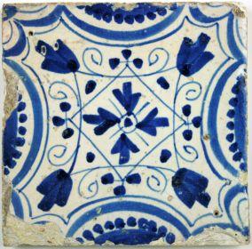 Antique Dutch Delft ornamental tile