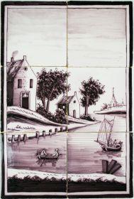 Dutch Delft tile landscape mural in manganese