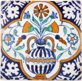 Antique Dutch polychrome tile with flower pot