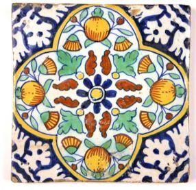 Antique Dutch 'Pompadour' tile